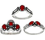 Luna Gemstone Sterling Silver Ring Set by American West - J349316