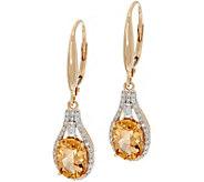 Imperial Topaz & Baguette Diamond Drop Earrings, 14K 2.50 cttw - J350416