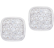 Diamonique Pave Cushion Stud Earrings Sterling - J351216