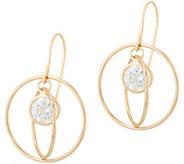 As Is Diamonique Floating Stone Dangle Earrings 14K Gold - J355216