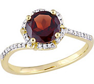 14K Gold 1.65 ct Garnet & 1/10 cttw Diamond Floral Halo Ring - J377116