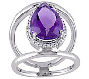 4.50 ct Amethyst & 1/7 cttw Diamond Ring, 14K White Gold - J377216