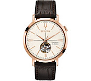 Bulova Mens Classic Automatic Leather Strap Watch - J378516