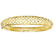 14K Gold Graduated Open-Weave Hinged Bangle, 11.6g - J381616
