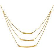 14K Gold Triple Strand Bar Necklace - J381916