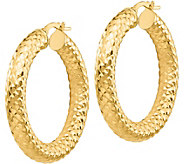 Italian Gold 1-1/4 Diamond-Cut Round Hoop Earrings 14K, 3.1g - J382216
