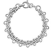 Italian Silver Panther Link 7-1/2 Bracelet, 13.0g - J382716
