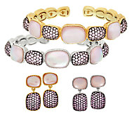 Judith Ripka Freeform Pink Doublet & Pave Cuff or Earrings - J53616