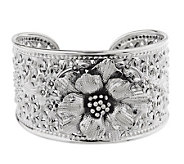 Artisan Crafted Sterling Average Open WorkFlower Cuff, 49.0g - J158817