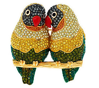 Joan Rivers Pave Crystal Lovebirds Brooch
