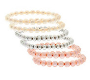 Honora Cultured Pearl Set of 6 Stretch Bracelets - J277917