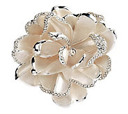 Joan Rivers Limited Edition White Pave Gardenia Pin - J279317