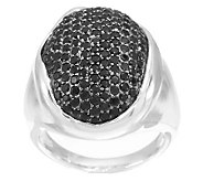 UltraFine Silver Pave Set Black Spinel Bold Ring - J281817