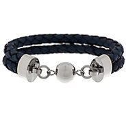 Stainless Steel Double Row Leather Bracelet - J284817