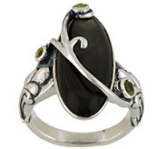 Carolyn Pollack Sterling Mother-of-Pearl and Peridot Statement Ring - J285017