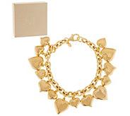 Bronze Heart Charm Rolo Link Bracelet by Bronzo Italia - J289117