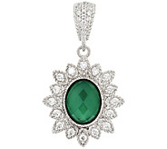 Judith Ripka Sterling Green Chalcedony & Diamonique Enhancer - J296617