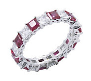Diamonique & Simulated Ruby Eternity Band Ring, Platinum Clad - J302417