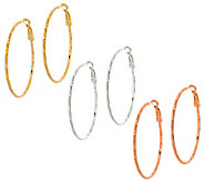 Set of 3 Diamond-Cut Hoop Earrings by Garold Milller - J303817