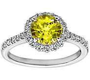 Diamonique Canary 100-Facet Ring, Platinum Clad - J304017