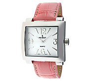 Peugeot Womens Silvertone Pink Leather Strap Watch - J304117