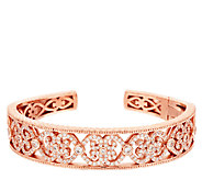 Diamonique Eternal Heart Hinged Cuff, 14K Clad - J318317