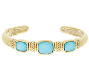 14K Gold Average Sleeping Beauty Turquoise Doublet Cuff - J319417