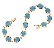 14K Gold 7-1/4 Sleeping Beauty Turquoise Tennis Bracelet, 10.0g - J319517