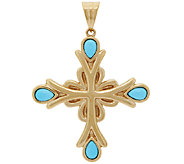 14K Gold Sleeping Beauty Turquoise Cross Pendant - J319717