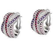 Judith Ripka Sterling 2.40 cttw Diamonique Hoop Earrings - J321117