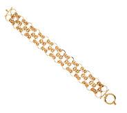 14K Gold 8 Triple Row Byzantine Open Link Bracelet, 13.8g - J321517