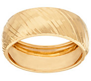 18K Gold 8mm Polished Ribbed Band Ring - J321617