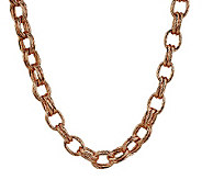 As Is Bronzo Italia 18 Textured Double Rolo Link Necklace - J321817