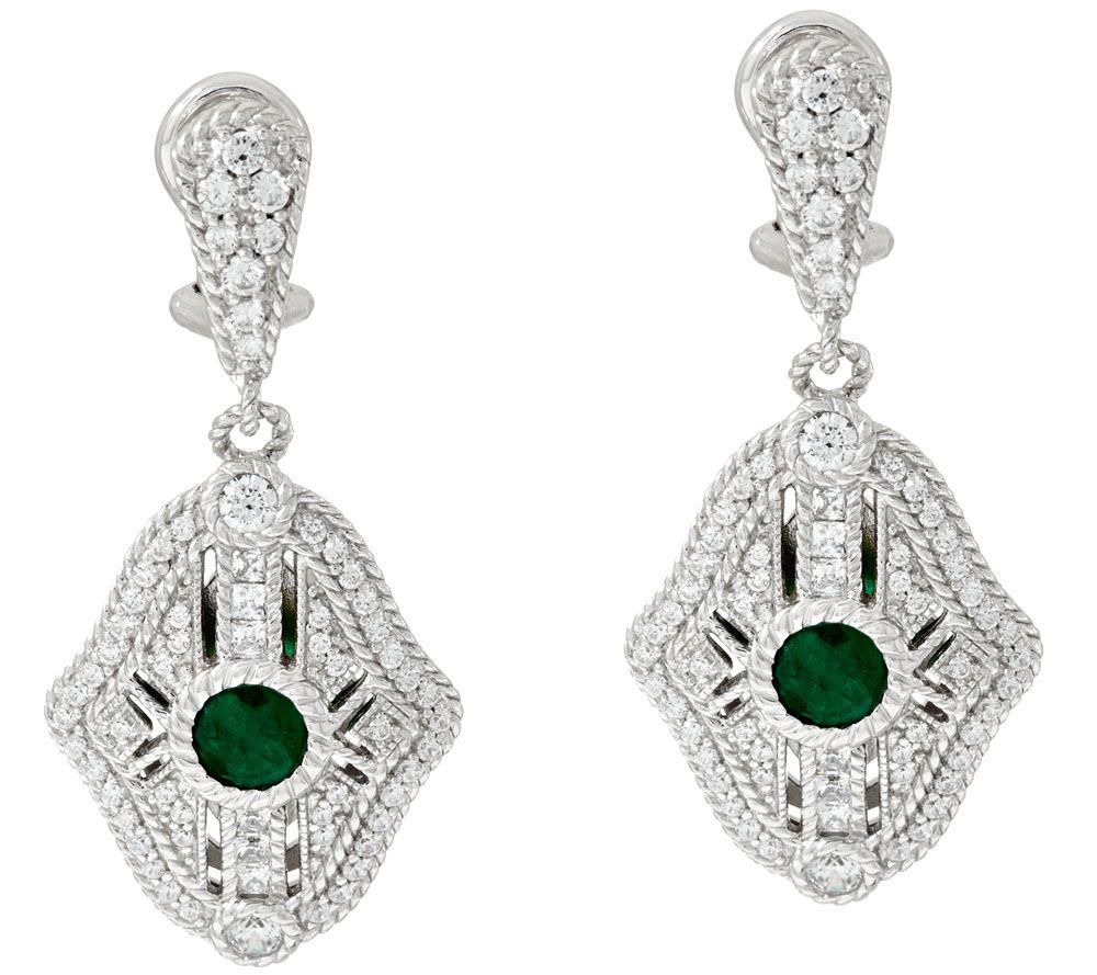 judith ripka sterling gemstone diamonique earrings qvc