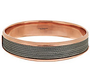 As Is Bronzo Italia Large Stainless Steel Cable Inset Round Bangle - J323217