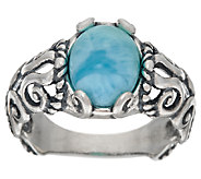 Carolyn Pollack Sterling Silver Oval Larimar Scroll Design Ring - J324517