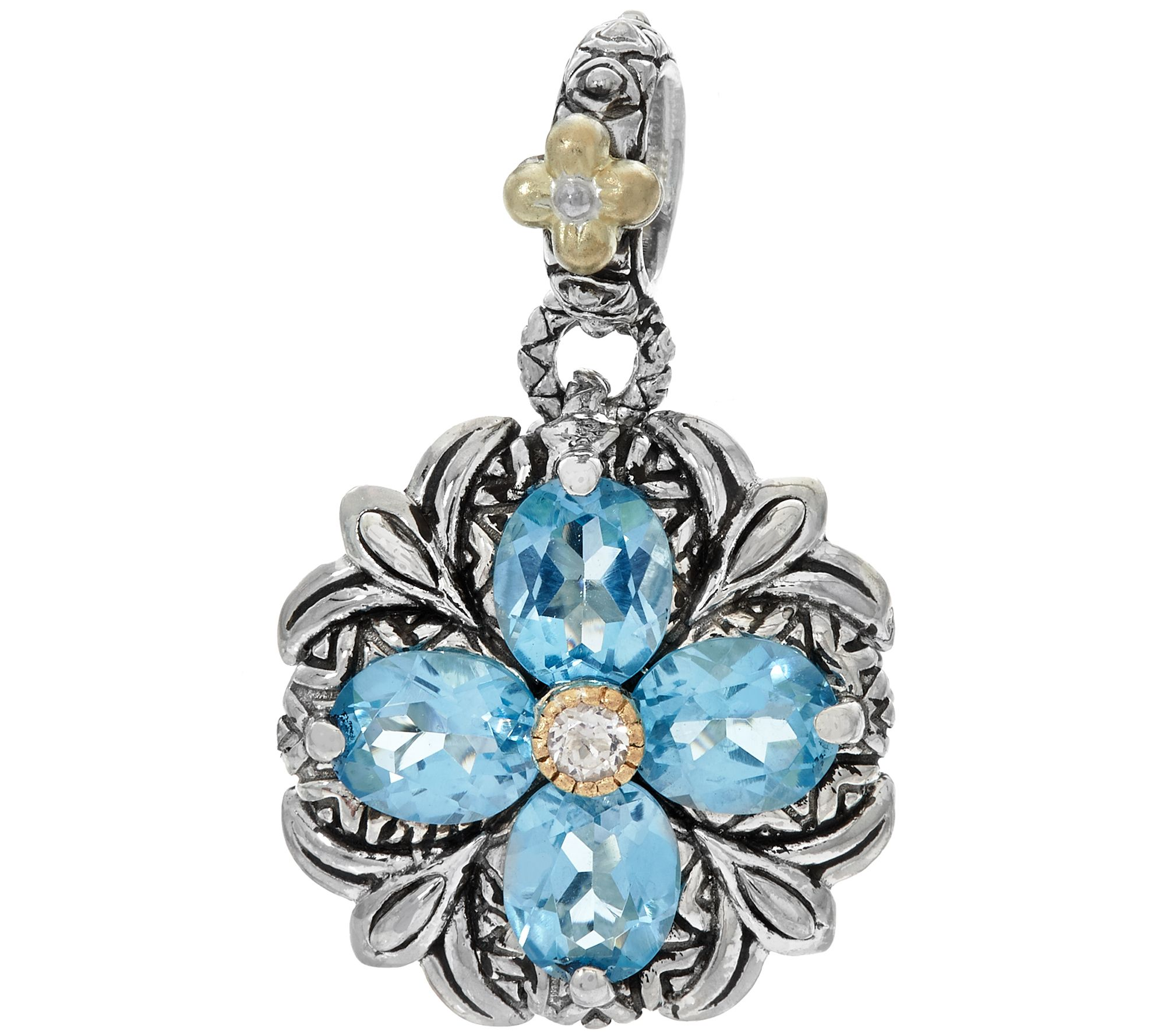 Barbara Bixby Sterling & 18K Gemstone Button Flower Charm