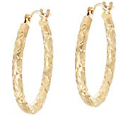 EternaGold 3/4 Crystal Cut Round Tube Hoop Earrings 14K Gold - J329617