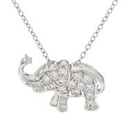 Diamonique Animal Motif Pendant w/ Chain, Sterling - J331217
