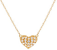 Diamonique 18 Heart Necklace, 14K Gold - J335117