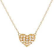 Diamonique 18 Heart Necklace, 14K Gold - J335117