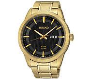 Seiko Mens Goldtone Black Dial Bracelet Watch - J337517