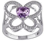 0.65 ct tw Amethyst Open Butterfly Ring, Sterling - J338117