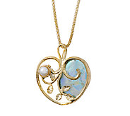 Or Paz Sterling/14K Plated Roman Glass Heart Pendant w/ Chain - J338617