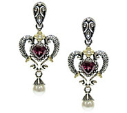 Barbara Bixby Sterling & 18K 1.60 ct Garnet & Pearl Earrings - J341517