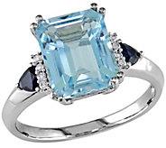 Blue Topaz, Sapphire & Diamond Ring 14K Gold - J341617