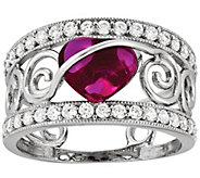 Sterling Red Heart Crystal Band Ring - J341917