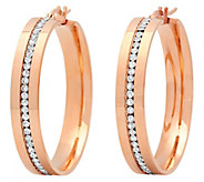 Stainless Steel Crystal Inlay 1-1/2 Hoop Earrings - J342817