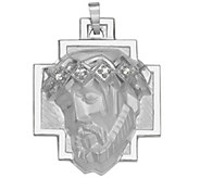14K Gold Head of Jesus Crown Pendant - J343017