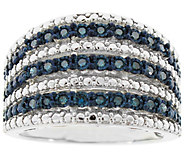 Blue Diamond Wide Band Ring, Sterling, 1/4 cttw, by Affinity - J344117